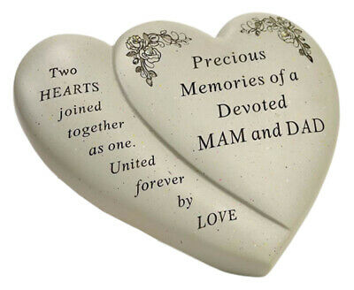Mam And Dad Double Heart Flower Graveside Memorial Ornament Verse Plaque New