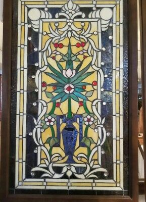 Stained glass leaded window Beautiful Colors with Vase & Flowers Wooden Frame