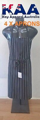 4 X Butchers Apron Bib Black White Vertical Pinstripe, Smoking, American BBQ