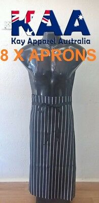 8 X Butchers Apron Waist Black White Vertical Pinstripe 80x85cm KINGAROY QLD