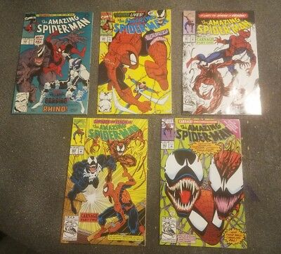 Lot of 5! Amazing Spiderman 344, 345, 361, 362, 363 VF/NM! 1st Carnage! Gradable