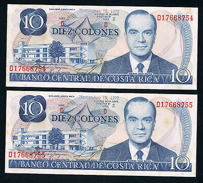 🇨🇷COSTA RICA BANKNOTES x2 CONSECUTIVE • 10 COLONES • 1979 • aUNC • SOME TONING