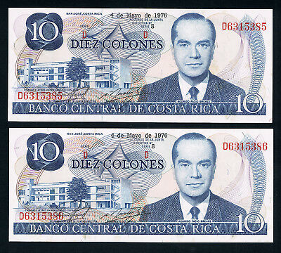 🇨🇷COSTA RICA BANKNOTES x2 CONSECUTIVE • 10 COLONES • 1976 • UNC • SOME TONING
