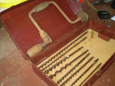 Vintage  brace and bit hand drill by Stanley 8 assorted drill bits (free post)