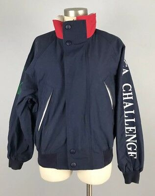 Vintage Nautica J-Class Challenge SPELL OUT Jacket SAILING Hooded Collar S Navy