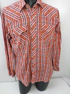 Vintage Double S Westerns Shirt Extra Long Tail  Size S Pearl Snaps Plaid