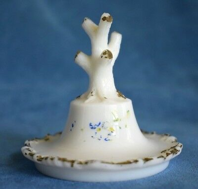 Antique Victorian Vanity Milk Glass Figural Branch Stump Ring Tree Figure