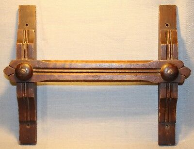 Vintage Wooden Hand Made Carved Towel Rack Wall Mount Kitchen +