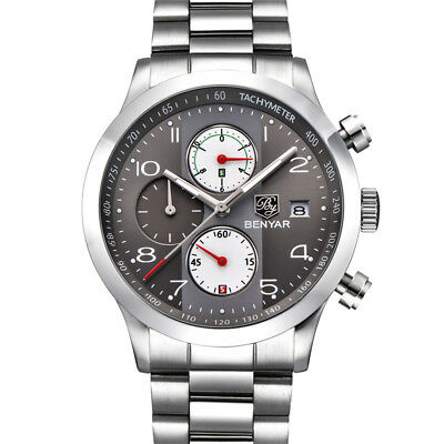 BENYAR Men's Date Luxury Quartz Watch Stainless Steel Sport Chronograph Watches