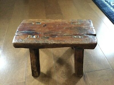Early Child's Primitive Wood Foot Stool Antique Bench