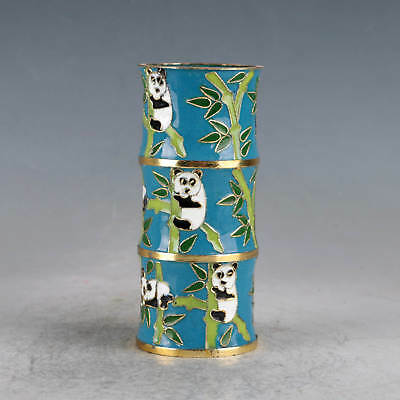 Chinese Cloisonne Hand-Made Panda&bamboo Pen Container