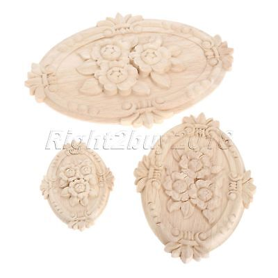Wooden Wood Carved Decal Oval Onlay Applique Furniture Table Wardrobe Decor 1pc