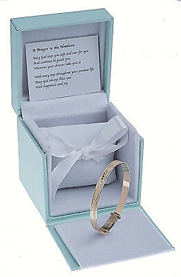 9ct Solid Gold Adjustable Baby Bangle Childrens Christening Birthday Bracelet