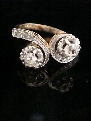 Art Deco French 18Ct Platinum Old Cut And Rose Cut Diamond Ring