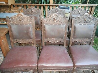 Six Antique Victorian Craved Ornate Dining Chairs all original leather & castors
