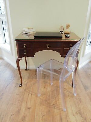 Vintage Queen Anne Antique Style 5 Drawer Mahogany Desk/dressing/hall Table