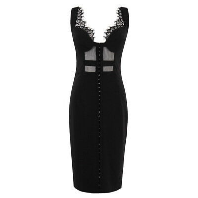 Women's Black Sexy Bodycon Lace 1950s Retro Style Hollow Out Sleeveless Dress