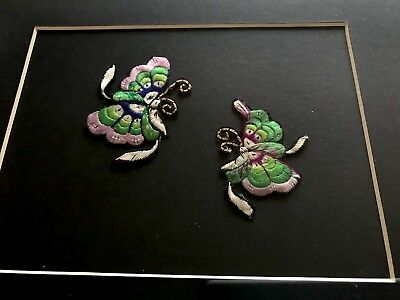 Vintage Framed Hand Embroidered Chinese Butterflies Glazed Picture