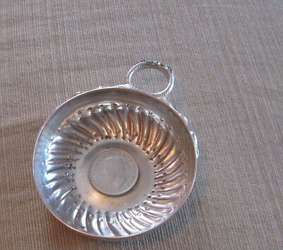 ANTIQUE Wine tasting cup Kissing Snakes handle Silver on copper /coin in bottom
