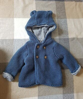 M&S Baby Boy Pure Cotton Chunky Knit Hooded Cardigan | Blue | Up To 1 Month