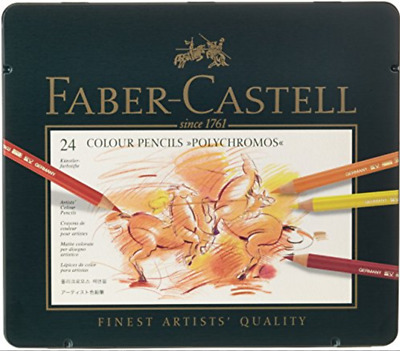 "Faber Castell 24 COLOUR PENCILS ""POLYCHROMOS"" DESSIN ART CRAYON COULEUR PRO LOT"
