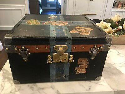 Antique Louis Vuitton Custom Order Black Steamer Mail Trunk Hat Box Paris