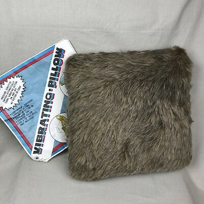 NOS Faux Fur Vibrating Pillow Vintage Golden Crown Brown Pressure Sensitive