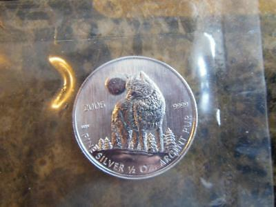 1 - 1/2 Oz Silver Wolf 2006 Rcm  .9999 Fine Siver Coins, From Mint Sheet !!