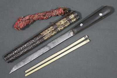 Antique Chinese trousse eating set with knife and chopsticks - China, 19th