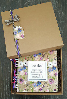 "Bridesmaid Flowergirl gift , 8""x8"" Boxed Memory Book, Personalised Scrapbook"