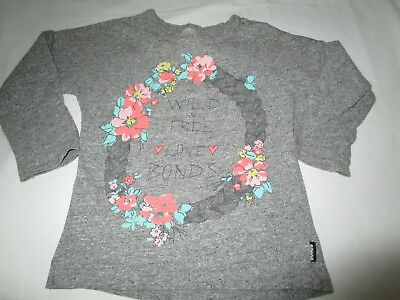 Baby girls 18-24mths Bonds grey marle tee  Size 2    long sleeve top