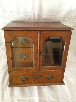 Antique English Cigar, Pipe, Tobacco Cabinet or Humidor. C-1890