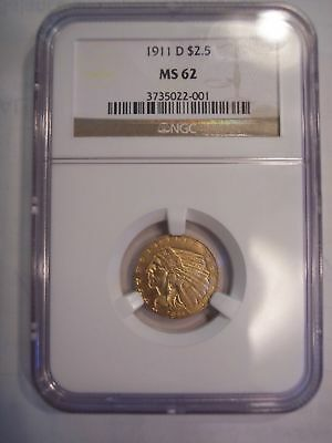 1911 D $2.5 Gold Eagle NGC MS 62