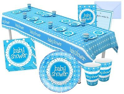 Blue Baby Shower Boy Party Tableware Decorations - Napkin, Plates, Cups, Banner