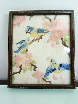 Vintage Embroidered Glass Framed Picture, Birds, Trees And Flowers, Vintage