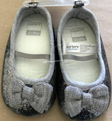 Girls Toddler CARTER/'S BETTY2 Silver//Gray Slip On Mary Janes Dress Shoes NEW