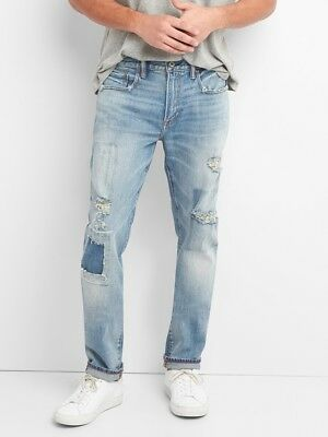GAP Cone Denim Men's Destructed Jeans in Skinny Fit with GapFlex NEW 34x32