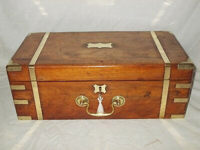 Large Antique Victorian 1850 Walnut Brass Bound Campaign Style Writing Slope Box