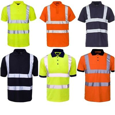 Supertouch Men's Hi Vis Reflective Polo T Shirts Soft Work Security Events Shirt