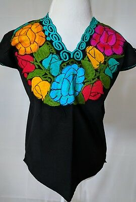 Embroidered Mexican Blouse with Flowers Women Size M
