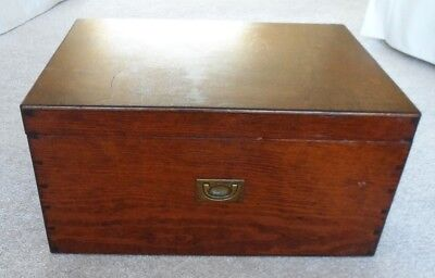 Large antique/vintage deed/document box with three brass recessed handles.