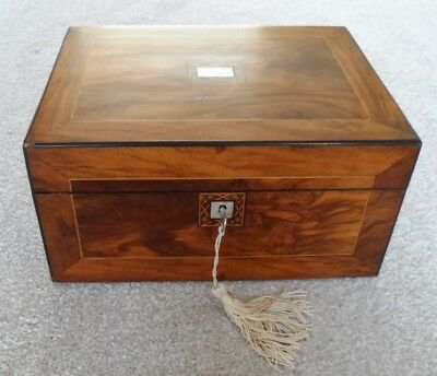 Victorian walnut work box, parquetry panels and m of p cartouche and escutcheon.