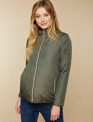 NEW Motherhood Maternity Small S Quilted Puffer Jacket Coat Olive Green 2018