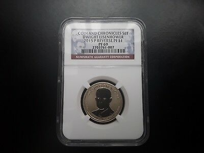 2015 P Coin and Chronicles Dwight Eisenhower Reverse Proof PF 69