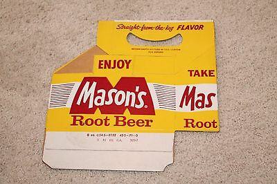 Vintage Original Mason's Root Beer 8 oz 6 Pack Holder Carton NOS