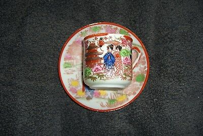 Vintage Japanese Porcelain Hand Painted Small Cup And Saucer