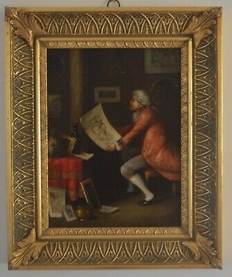 Antique Style Oil on Canvas Interior Scene of an man admiring art