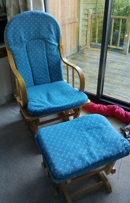 Wood glider rocking nursing chair and footstool.