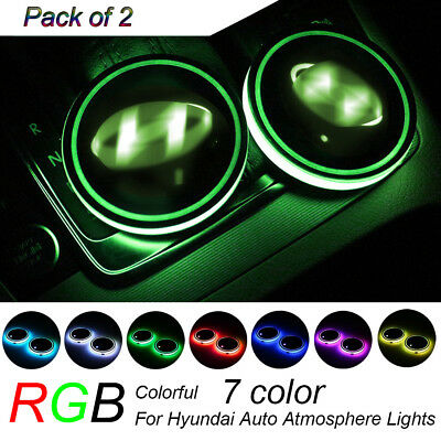 2PCS RGB LED Car Cup Holder Pad Mat for HYUNDAI Auto Interior Atmosphere Lights