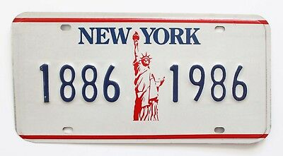 Vintage New York Statue of Liberty Centennial Booster Sample License Plate